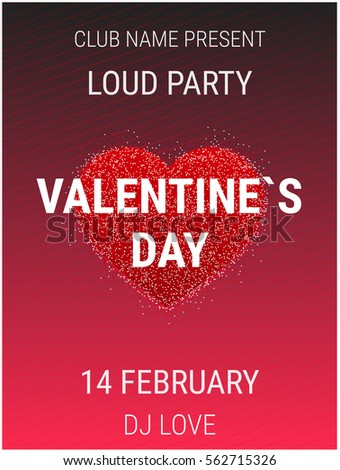 Valentines Day Party Poster Template Shiny Stock Vector Royalty