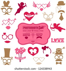 Valentine's Day Party set - Photo Booth props - glasses, hats, lips, mustaches, masks - in vector