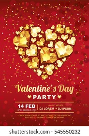 Valentines day party vector poster design template. Gold gem heart on red background. Golden holiday poster with diamonds, jewels. Concept for Valentines banner, flyer, party invitation.