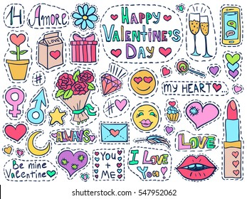 Valentines Day patch badges set. Love symbols doodles. Romantic elements collection. Hand drawn effect. Vector illustration for web design or printed products.