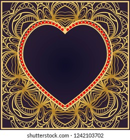 Valentine's day pattern with heart. Template Greeting Card, Invitation Or Posters. Vector Illustration
