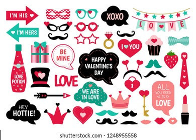 Valentine/'s Day Doodle Hearts Selfie Frame Photo Booth Prop Poster Cutout