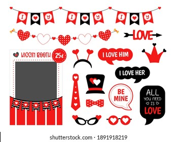 Valentines Day photo booth props set for the party. Love decoration. Kissing booth. Speech bubble with text, heart, hat, glasses, garland, bunting,  elements for a selfie. Photobooth template to cut.