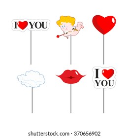 Valentines day photo props. Paper elements for photos shoot. February 14 lovers. I like you. Lips and cloud. Cupid and kiss. Big red heart.