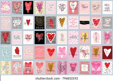 Valentines day phrase cards big set hand drawn greetings vector