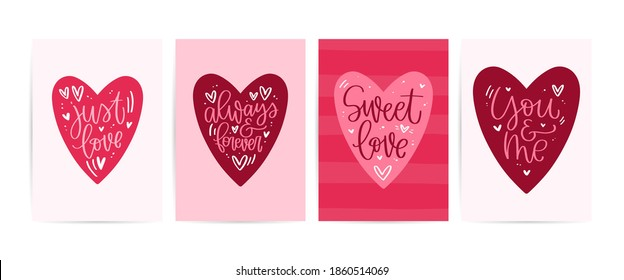 Valentines day pink red card set. Heart frame vector design with lettering love messages: just love, always and forever, sweet love, you and me. February 14 gift bag print with traditional symbols.