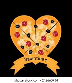 Valentines day pizza vector design
