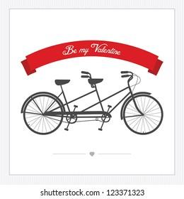 Valentine's Day postcard with vintage tandem bicycle