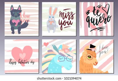 Valentines day postcards set with cute animals, handwritten lettering and brush strokes. - Shutterstock ID 1021094074