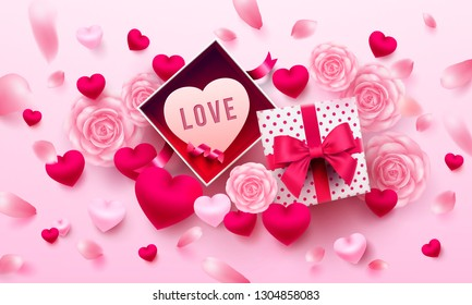 Valentine's Day Poster or banner with open gift box,sweet heart and flower on pink background.Promotion and shopping template or background for Love and Valentine's day concept.Vector EPS10