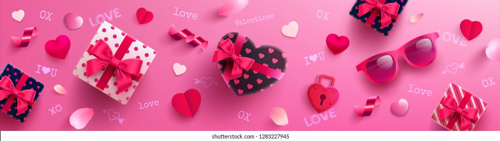 Valentine's Day Poster or banner with sweet gift,sweet heart and lovely items on pink background.Promotion and shopping template or background for Love and Valentine's day concept.Vector EPS10