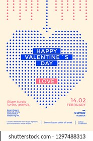 Valentines day poster with blue stylized heart of dots. Vector illustration