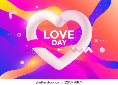 Valentine's Day poster design with Creative 3d heart and graphic elements. Vector gradient trendy illustration