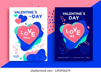 Valentines day poster or flyer design with texturing heart and fluid shapes. Vector illustration.