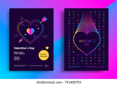 Valentines day poster or flyer design with vibrant gradient heart. Vector illustration