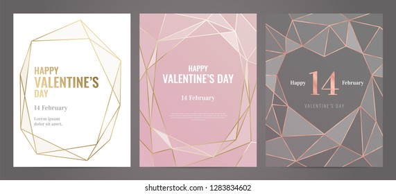 Valentines Day poster Luxury template with gold frame. Invitation template. Geometric shape.