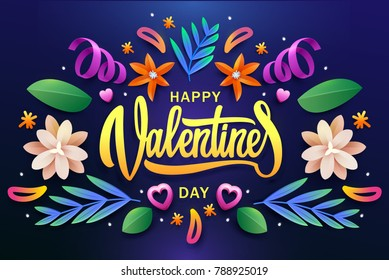 Valentine's Day poster.Typography.Vector illustration. Set of flowers and colored leaves.