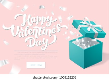 Valentines day Promo banner with Open Gift Box and silver Confetti. Happy valentines day. Turquoise jewelry box. Template for cosmetics jewelry shops. Christmas Background. Vector Illustration.