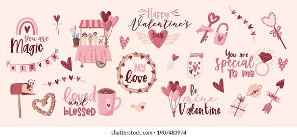 Valentine's day quotes elements set. Gift, heart, balloon, kiss, key, rose, candy, and others for decorative. Sticker cartoon style. Vector illustration.