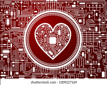 Valentines day red background. Abstract technology heart. IT love symbol. Vector illustration.