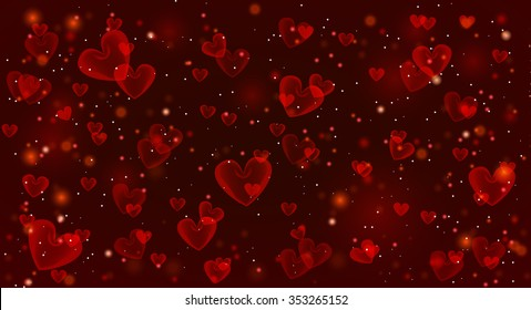 Valentine's day red background with hearts. Vector illustration.