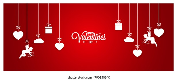 Valentines day red banner on white background