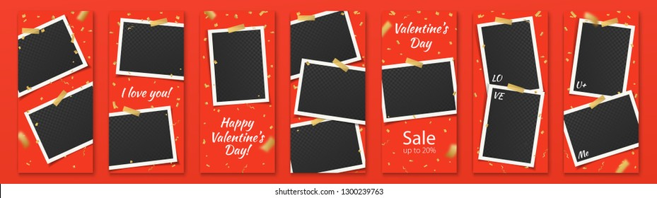 Valentine's Day Red Editable Social Network Stories Template Set with Photo Frames and Confetti, Color Stickers for Sale, Flyers, Banners with text: I love you, U & Me, Sale, Happy Valentine's Day.