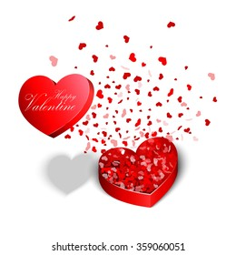 Valentine's Day, red heart shaped boxes.vector