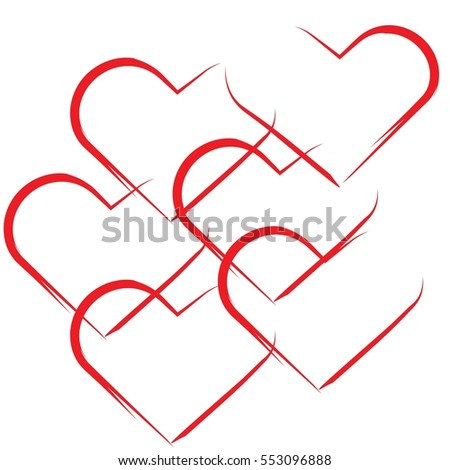 Valentines Day Red Hearts Frames On Stock Vector (Royalty Free ...