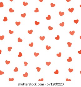 Valentines day Red hearts isolated on white background seamless patern