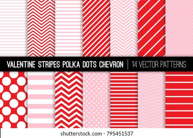Valentine's Day Red and Pink Polka Dots, Chevron and Diagonal and Horizontal Stripes Vector Patterns.  Modern Minimal Backgrounds. Various Size Spots and Lines. Pattern Tile Swatches Included.