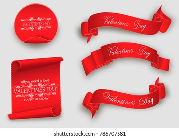 Valentine's day.the red scroll.set of banners