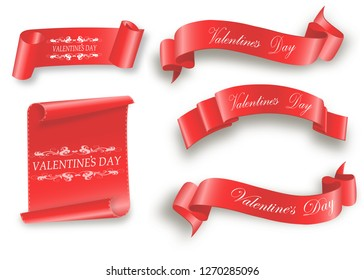 Valentine's day.the red scroll.set of banners.Vector illustration