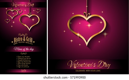 Valentine's Day Restaurant Menu Template Background for Romantic Dinner Event, Parties Flyer, Lunch Event Invitations, Love Cards and so on.