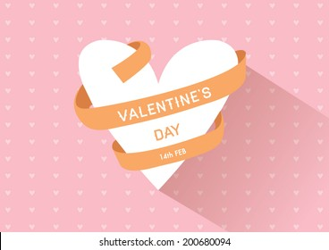 Valentine's day ribbon heart shape vector with background design/ Greetings card for lovely couple