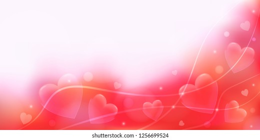 Valentine's day romantic background in red, pink and white with hearts and ribbons. Tender template for banner, newsletter postcard, wedding invitation, poster, wallpaper. Vector illustration EPS10