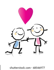 Valentine's Day romantic boy kneeling down in front of his girlfriend, cartoon children's drawing style series