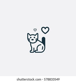 Valentine's day. Romantic design elements isolated. Thin line version. Vector illustration. Cat icon