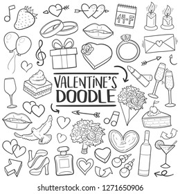 Valentine's Day Romantic Doodle Icons Sketch Hand Made Design Vector