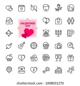 Valentine's Day romantic elements - minimal thin line web icon set. Outline icons collection. Simple vector illustration.
