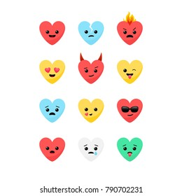 Valentine's Day romantic flat design style heart shaped emoji faces vector icon set