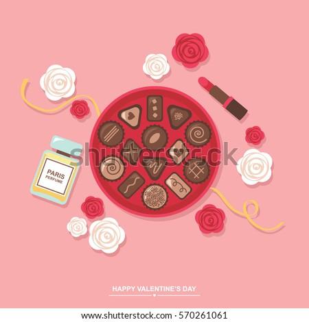 Valentines Day Romantic Gift Chocolates Box Stock Vector Royalty