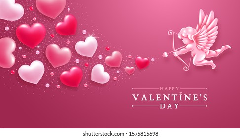 Valentines day romantic greeting card template. Realistic figure of cupid with bow and arrows, aiming in hearts of lovers. Vector illustration.