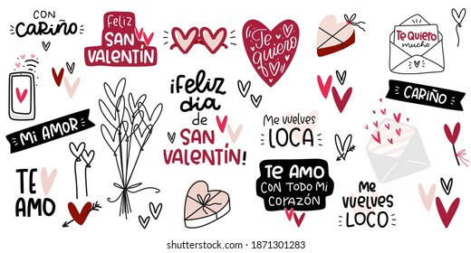 Valentines day romantic phrases in Spanish. Vector clip art set. Text reads: with love, Happy Saint Valentines day, my love, I love you very much in variations, you drive me crazy for her and for him
