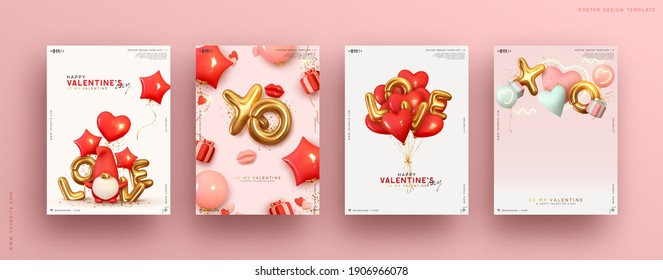 Valentines day. Romantic set vector backgrounds. Templates Festive gift card with realistic 3d design elements. Holiday banners, web poster, flyers and brochures, greeting cards, group bright covers