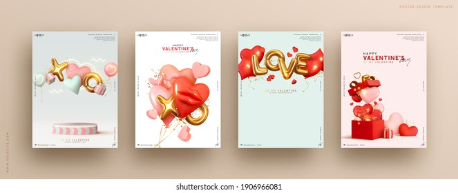 Valentines day. Romantic set vector backgrounds. Festive gift card templates with realistic 3d design elements. Holiday banners, web poster, flyers and brochures, greeting cards, group bright covers