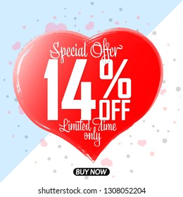 Valentines Day Sale, 14% off, special offer,  banner design template, discount tag, app icon, grunge brush, heart symbol,  vector illustration