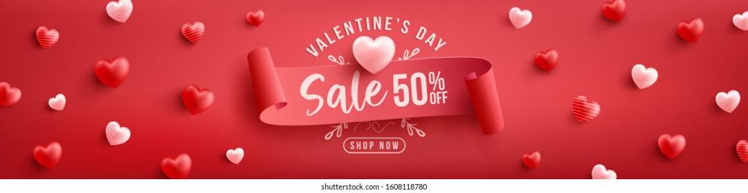 Valentinstag Verkauf 50 % Rabatt auf Poster oder Banner mit Herzenslust und rotem Hintergrund.Werbegeschenk und Shopping-Vorlage oder Hintergrund für das Tageskonzept von Love und Valentine.Vektorillustration-Illustration eps10