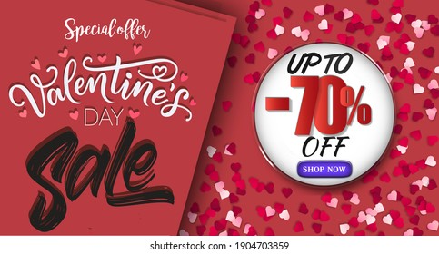 Valentine's Day Sale 70% off Poster or banner with sweet hearts and on red background.Promotion and shopping template or background for Love and Valentine's day concept