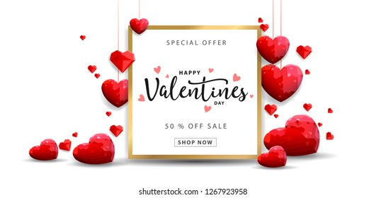 Valentines day sale background with balloons heart pattern. Vector illustration. Wallpaper, flyers, invitation, posters, brochure, banners. - Vector